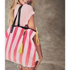 Victoria's Secret Pink striped tote yellow tassle